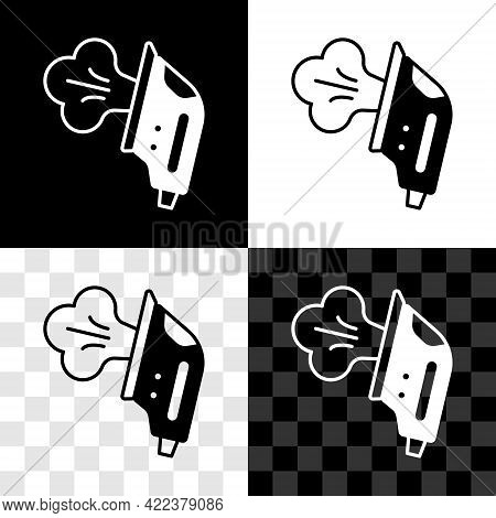 Set Electric Iron Icon Isolated On Black And White, Transparent Background. Steam Iron. Vector