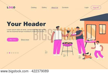 Family Barbecue Dinner. Mother, Father And Kid With Dog Grilling Bbq Meat In Garden. Vector Illustra