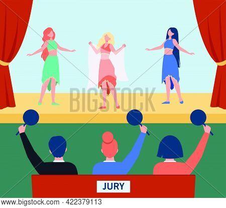 Female Dancers Performing On Dancing Contest. Bellydance, Costume, Jury Flat Vector Illustration. En