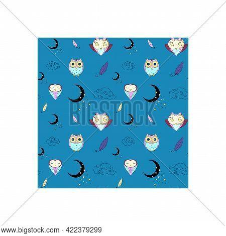 Pattern Cute Owls, Blue Background, Night Background, Bird, Owls, Blue, Moon, Clouds, Stars, Bird Fe