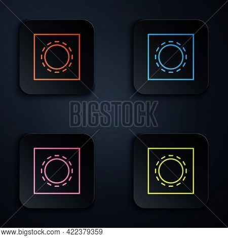 Color Neon Line Condom In Package Safe Sex Icon Isolated On Black Background. Safe Love Symbol. Cont