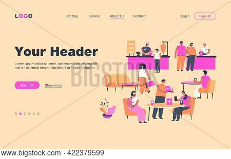 Positive People Eating In Cafe Isolated Flat Vector Illustration. Cartoon Characters Having Lunch In