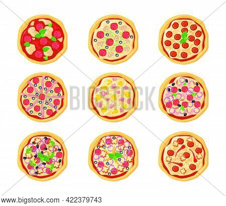 Set Of Cartoon Pizzas With Different Stuffing. Flat Vector Illustration. Top View Collection Of Vari