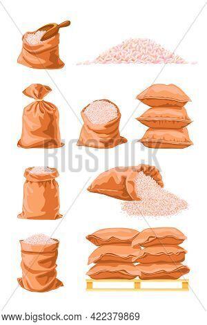 Textile Sacks Full Of Rice Cartoon Vector Illustration. White Raw Rice Grain Packaging In Big Brown