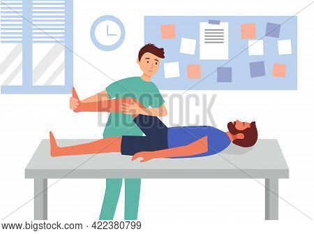 Physiotherapy Or Injury Rehabilitation Treatment Concept Vector Illustration. Physiotherapist Help P