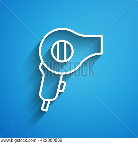 White Line Hair Dryer Icon Isolated On Blue Background. Hairdryer Sign. Hair Drying Symbol. Blowing
