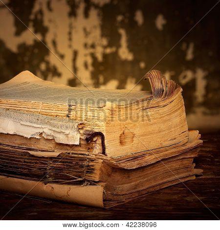 Dilapidated Books On A Wooden Surface, Sepia