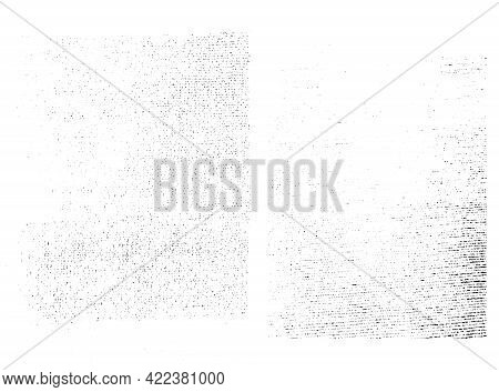 Distressed Overlay Textures Of Rough Surface, Textile, Woven Fabric. Grunge Backgrounds. One Color G