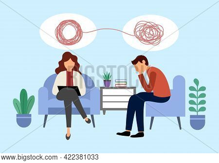 Psychotherapy Treatment Concept Vector Illustration. Male Patient Counseling With Psychotherapist Do