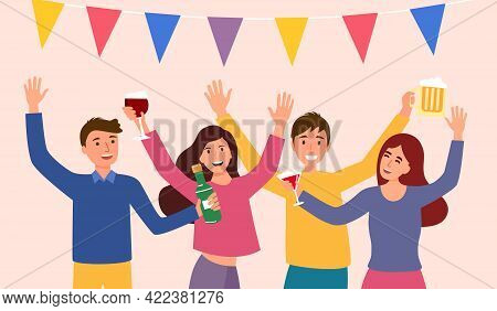 Joyful Group Of People Celebrating In Party. Man And Woman Enjoy Drinking Alcohol And Dancing In A P