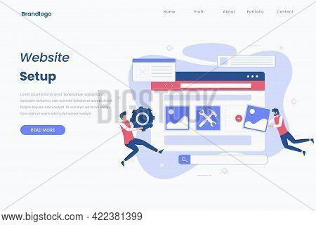 Flat Design Website Setup Illustration Landing Page
