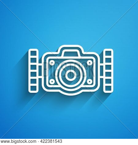 White Line Photo Camera For Diver Icon Isolated On Blue Background. Foto Camera Icon. Diving Underwa