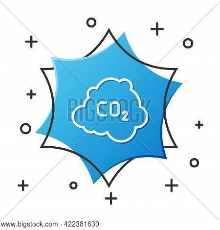 White Line Co2 Emissions In Cloud Icon Isolated On White Background. Carbon Dioxide Formula, Smog Po