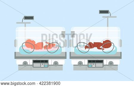 Preterm Baby Incubator With Infants, Neonatal Intensive Therapy, Neonatologist Equipment
