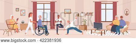 Cartoon Happy Senior Man Woman Characters Do Yoga Sport Exercises, Read Books In Room Interior, Disa