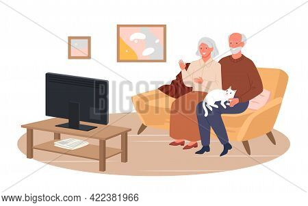 Elderly Couple People Watch Tv Movie News In Home Living Room, Sitting At Couch Together
