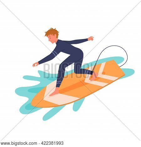 Surfing Man In Wetsuit On Surf Board, Active Happy Young Surfer Guy Catching Ocean Wave