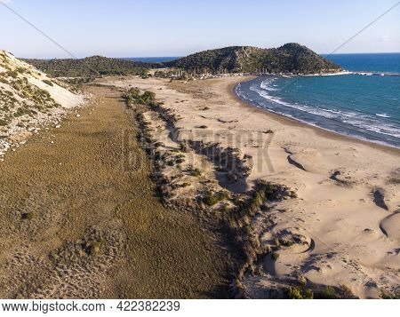 Aerial Remarkable Historical Sand Beach On The Mediterranean Sea Of Demre