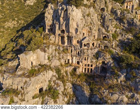 Aerial Shot Archeological Remains Of The Lycian Rock Cut Tombs In Myra, Turkey