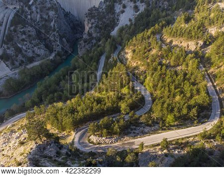 Picturesque Curvy Road And Great Dam On Oymapinar Lake, Mountain And Forest In Turkey - Green Canyon