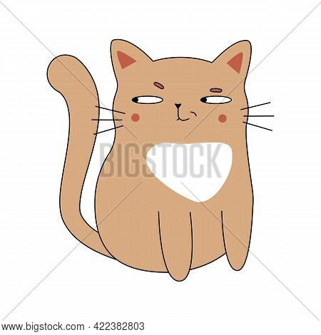 Adorable Cat. Vector. Isolated On White Background.
