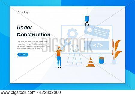 Modern Flat Design Under Construction Landing Page