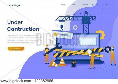 Under Construction Landing Page Illustration Template