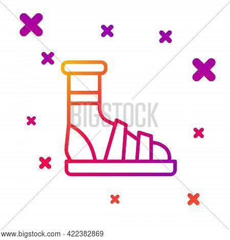 Color Line Slippers With Socks Icon Isolated On White Background. Beach Slippers Sign. Flip Flops. G