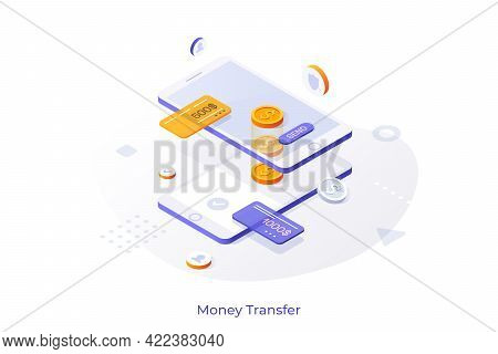 Conceptual Template With Two Smartphones And Dollar Coins. Wireless Touch Technology For Mobile Paym