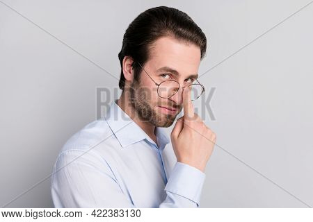 Photo Portrait Businessman Wearing Formalwear Touching Glasses Isolated Grey Color Background