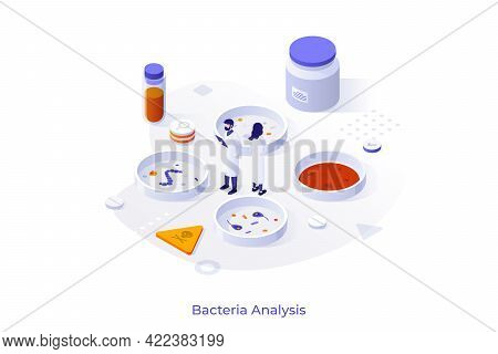 Concept With People In Lab Coats And Petri Dishes With Bacterias. Bacteriology Experiment, Microbiol