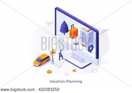 Conceptual Template With Man Ascending Stairs And Entering Computer Screen With Hotel Building And S