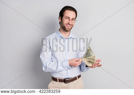 Photo Portrait Businessman Wearing Formalwear Keeping Dollar Banknotes Rich Wealthy Isolated Grey Co