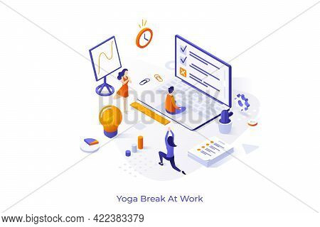 Conceptual Template With Group Of Clerks Or Office Workers Meditating And Performing Asanas. Yoga Or