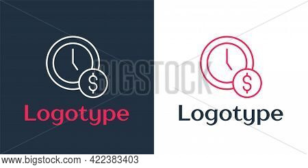 Logotype Line Time Is Money Icon Isolated On White Background. Money Is Time. Effective Time Managem