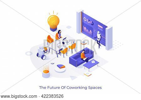Conceptual Template With Workers Or Clerks Sitting At Desks And Working On Laptops In Modern Office