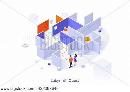 Conceptual Template With Man And Woman Standing In Front Of Maze Or Labyrinth And Trying To Find Way