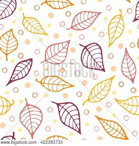 Vector Doodle Leaves Repeat Pattern Background. Autumn Colors. Yellow, Orange And Terracotta. Hand D
