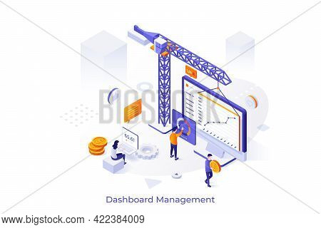 Conceptual Template With Construction Crane, People, Laptop With Diagram And Business Indicators On