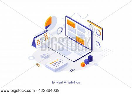 Conceptual Template With Laptop Computer And Incoming Electronic Letters. Concept Of Online Tool Or