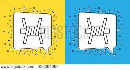 Set Line Barbed Wire Icon Isolated On Yellow And Blue Background. Vector