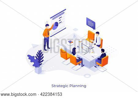 Conceptual Template With Man Making Presentation In Front Of Colleagues At Office. Scene Of Whiteboa