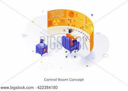 Conceptual Template With Man Sitting At Dashboard Or Control Panel And Futuristic Virtual Display. S
