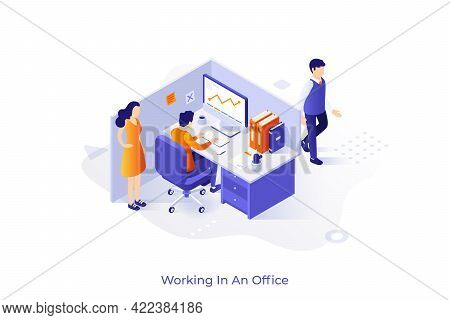 Conceptual Template With Clerk Or Manager Sitting In Cubicle Or Enclosed Workplace And Working. Scen