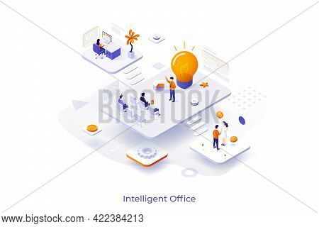 Conceptual Template With Employees Or Clerks Working In Different Locations And Glowing Light Bulb.