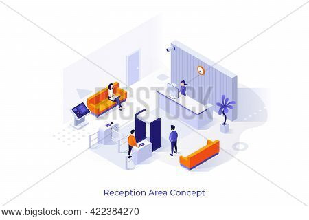 Conceptual Template With People At Lobby Room. Scene For Furniture, Security Tools And Equipment For