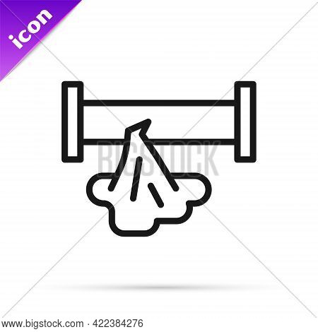 Black Line Broken Metal Pipe With Leaking Water Icon Isolated On White Background. Vector