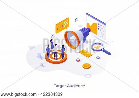 Conceptual Template With Group Of Consumers Or Customers And Giant Megaphone. Scene For Target Audie