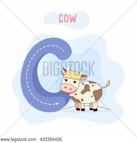 Capital Letter C. Vector Illustration With Cartoon Cow Isolated On The Background. Learn The Alphabe