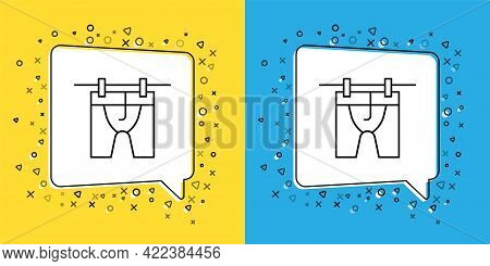 Set Line Drying Clothes Icon Isolated On Yellow And Blue Background. Clean Shirt. Wash Clothes On A